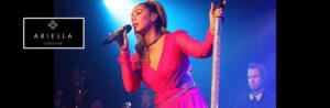 Leona Lewis wears Ariella Couture